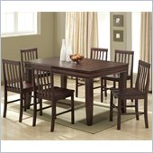 Walker Edison 7 Piece Fancy Solid Wood Dining Set in Espresso