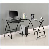 Walker Edison L-Shape Glass Computer Desk in Clear and Black
