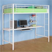 Walker Edison Sunrise Metal Workstation Twin Loft Bunk Bed in White