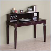 Walker Edison Elegant Solid Wood Writing Desk with Hutch in Walnut