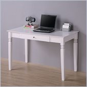 Walker Edison Elegant Solid Wood Writing Desk in White