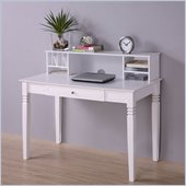 Walker Edison Elegant Solid Wood Desk with Hutch in White