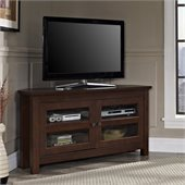 Walker Edison 44 Inch Corner Wood TV Console in Traditional Brown