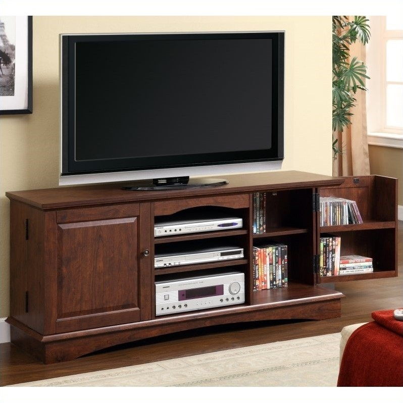 60 Inch Media Storage Wood TV Console in Brown