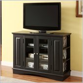 Walker Edison 42 Inch Bedroom TV Console with Media Storage in Black 