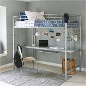 Walker Edison Sunrise Metal Twin/Workstation Bunk Bed in Silver