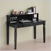 Walker Edison Elegant Solid Wood Desk with Hutch in Black