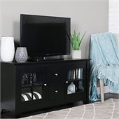 Walker Edison 52 in. Wood TV Console with Two Drawers in Matte Black