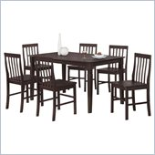 Walker Edison Bentley 7-Piece Wood Dining Set in Espresso