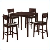 Walker Edison Stanley 5-Piece Wood Pub Table Set in Espresso