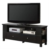 Walker Edison 60 in. Wood TV Console with Storage in Black
