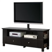 Walker Edison 60 in. Wood TV Console with Mount and Storage in Black
