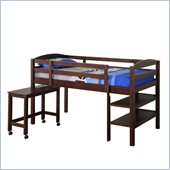 Walker Edison Twin Wood Loft Bed with Desk in Espresso