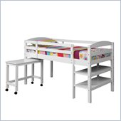 Walker Edison Twin Wood Loft Bed with Desk in White