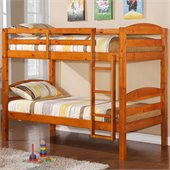 Walker Edison Twin/Twin Solid Wood Bunk Bed in Honey
