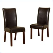 Walker Edison Faux Leather Dining Chair in Brown (Set of 2)