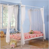 Walker Edison Metal Twin Canopy Bed in White