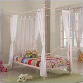 Walker Edison Metal Twin Canopy Bed in Pink