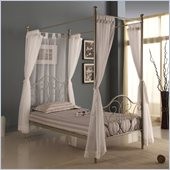 Walker Edison Metal Twin Canopy Bed in Pewter Metallic