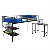 Walker Edison Twin Loft Bed with Desk and Shelves in Black
