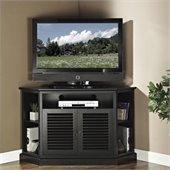 Walker Edison 52 in. Wood Corner TV Console in Black