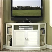Walker Edison 52 in. Wood Corner TV Console in White