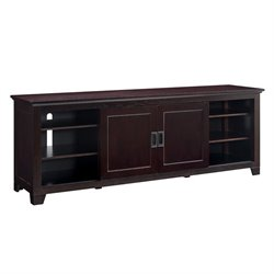 Walker Edison 70 Wood TV Console with Sliding Doors in Espresso