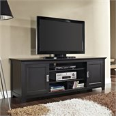 Walker Edison 70 Wood TV Console with Sliding Doors in Black