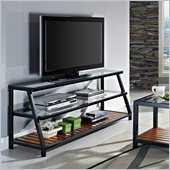 Walker Edison 60 in. Glass Metal Wood TV Stand in Antique Brown