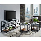 Walker Edison Glass Metal Wood 60 TV Stand & Coffee Tables Combo