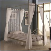 Walker Edison Metal Full Canopy Bed with Curtains in Pewter
