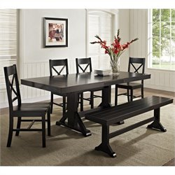 Walker Edison 6-Piece Millwright Wood Dining Set in Black