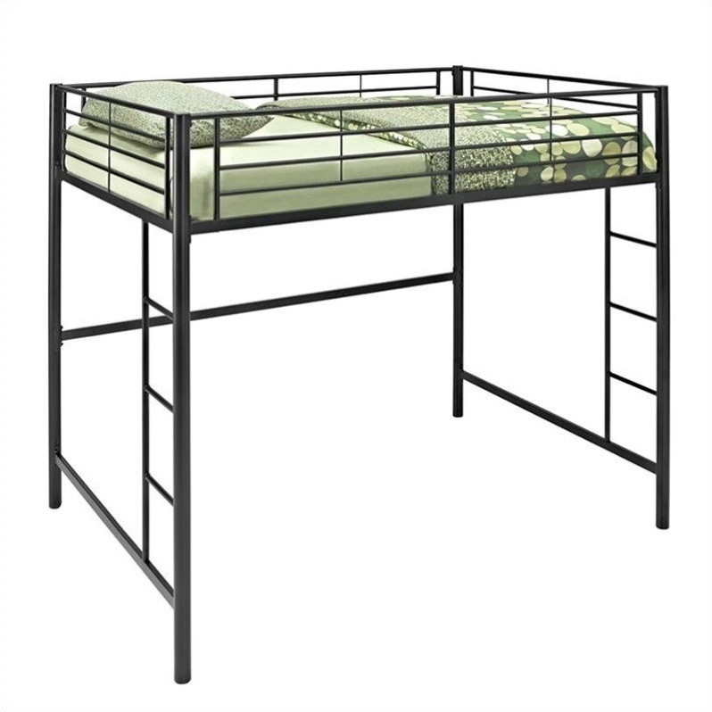 Metal full double loft bunk bed in black bdolbl Black bunk beds