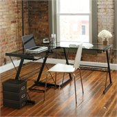 Walker Edison L-Shape Glass Top Computer Desk in Black 