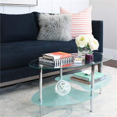 Walker Edison 38&quot; Dual Oval Glass Top Coffee Table