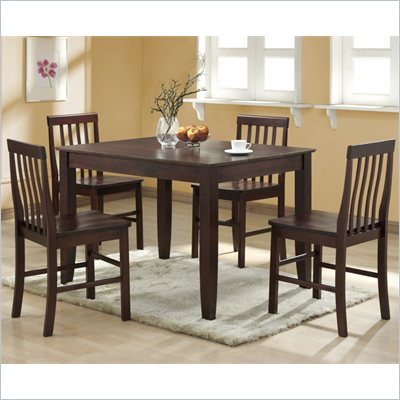 Walker Edison Abigail 5 Piece Solid Wood Dining Set  in Espresso