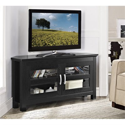 Walker Edison 44&quot; Castillo Black Corner Wood TV Stand