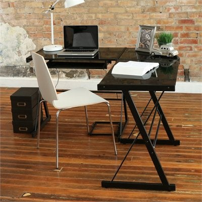 Walker Edison Soreno Corner L-Shape Glass Top Computer Desk in Black