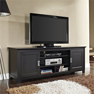 Walker Edison 70&quot; Wood TV Console with Sliding Doors in Black