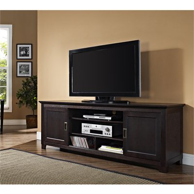 "Walker Edison 70"" Wood TV Console with Sliding Doors in Espresso"