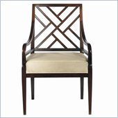 Stanley Furniture Continuum Ivory Fabric Arm Chair in Amaretto Cherry Finish