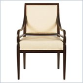 Stanley Furniture Continuum  Upholstered Ivory Fabric Arm Chair in Amaretto Cherry Finish