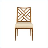 Stanley Furniture Continuum Wood Fret Back Side Chair in Candlelight Cherry