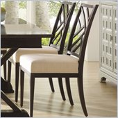 Stanley Furniture Continuum Fret Back Side Wood Chair in Java