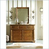 Stanley Furniture Portfolio Bedroom Bungalow Dressing Chest and Mirror in Straw