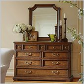 Stanley Furniture Arrondissement Grand Rue Dresser and Mirror Set in Heirloom Cherry