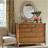 Stanley Furniture Arrondissement Belle Mode Dresser and Mirror Set in Sunlight Anigre and Vintage Neutral