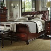 Stanley Furniture City Club Saville Leather Sleigh Bed in Blair
