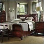 Stanley Furniture City Club Saville Leather Sleigh Bed 4 Piece Bedroom Set in Blair