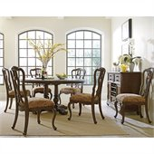 Stanley Furniture Portfolio Rustica Dining 64 Round Table 7 Piece Dining Set in Sorrel